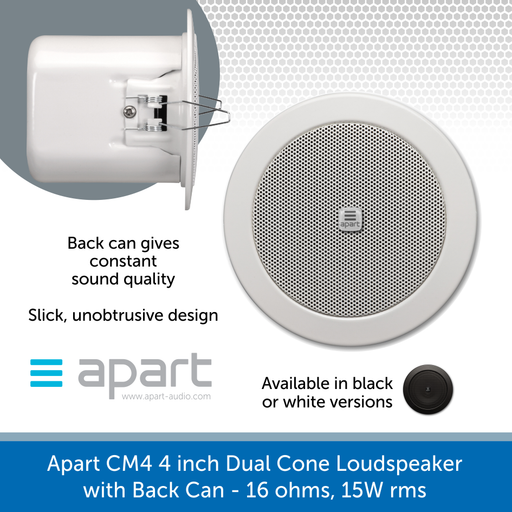Apart Audio CM4 & CM4-BL 4 inch Dual Cone Loudspeaker with Back Can - 16 ohms, 15W rms