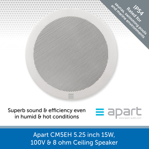 Apart Audio CM5EH 5.25 inch 15W, 100V & 8 ohm Ceiling Speaker