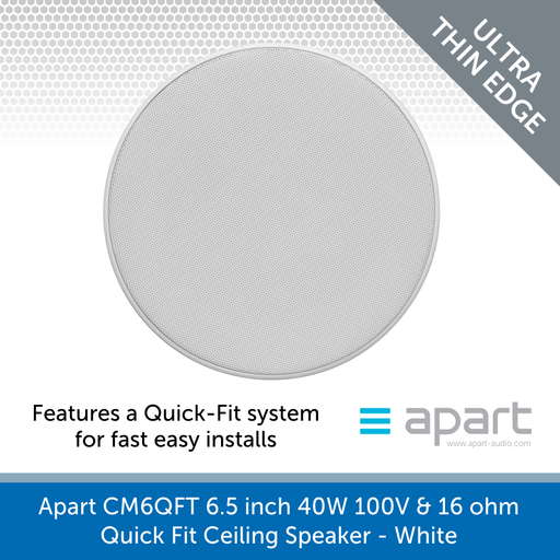 Apart Audio CM6QFT 6.5 inch 40W 100V & 16 ohm Quick Fit Ceiling Speaker - White