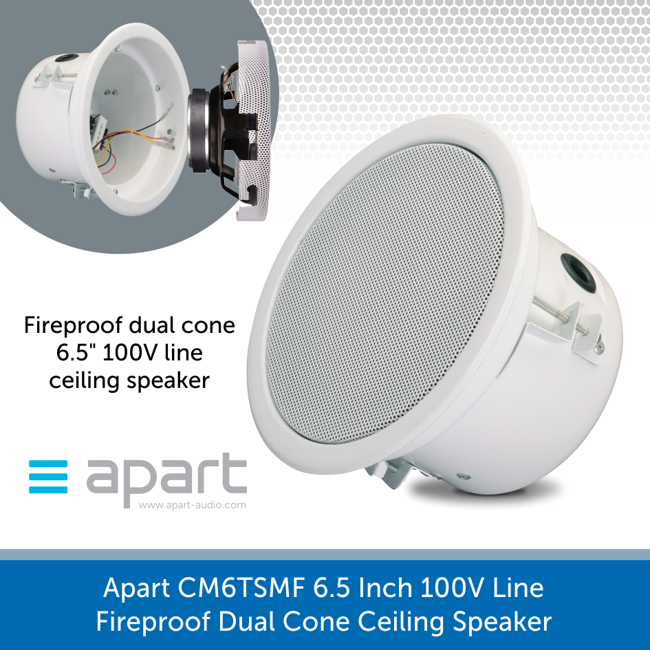 Apart Audio CM6TSMF 6.5 Inch 100V Line Fireproof Dual Cone Ceiling Speaker
