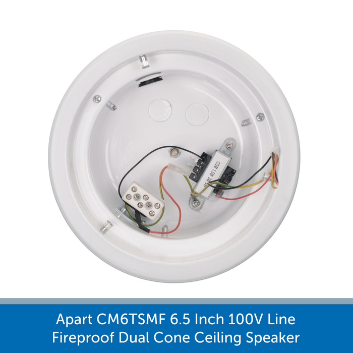 Inside a fire dome of a Apart CM6TSMF 6.5 Inch 100V Line Fireproof Dual Cone Ceiling Speaker
