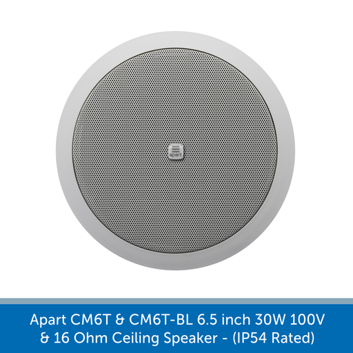 The Apart Audio CM6T & CM6T-BL 6.5 inch 30W 100V & 16 Ohm Ceiling Speaker available in white for black