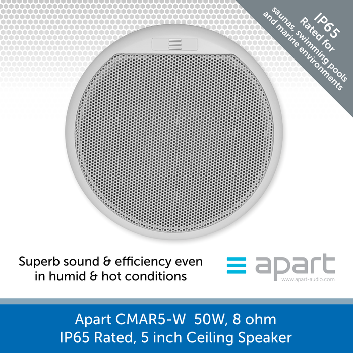 Apart Audio CMAR5-W  50W, 8 ohm, IP65 Rated, 5 inch Ceiling Speaker - Chlorine & Salt Water Proof