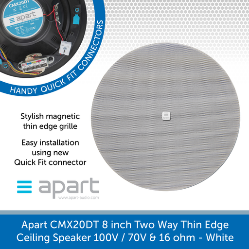 Apart Audio CMX20DT 8 inch Two Way Thin Edge Ceiling Speaker 100V / 70V & 16 ohm