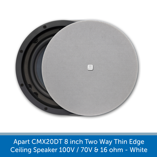 Stylish magnetic grill Apart Audio CMX20DT 8 inch Two Way Thin Edge Ceiling Speaker 100V / 70V & 16 ohm