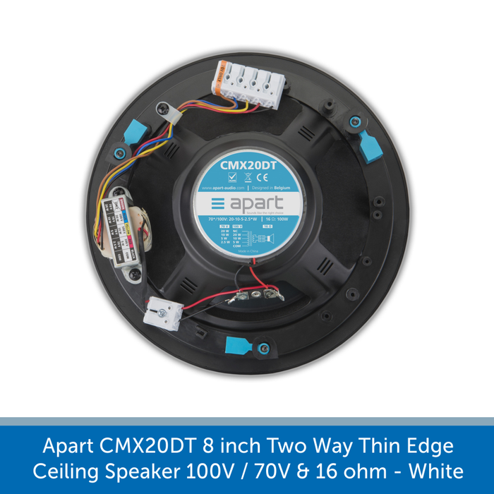 Showing the back of a Apart Audio CMX20DT 8 inch Two Way Thin Edge Ceiling Speaker 100V / 70V & 16 ohm