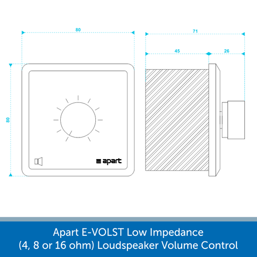Showing the size of a Apart E-VOLST Low Impedance Loudspeaker Volume Control