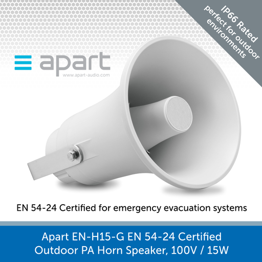 Apart Audio EN-H15-G EN 54-24 Certified Outdoor PA Horn Speaker, 100V / 15W