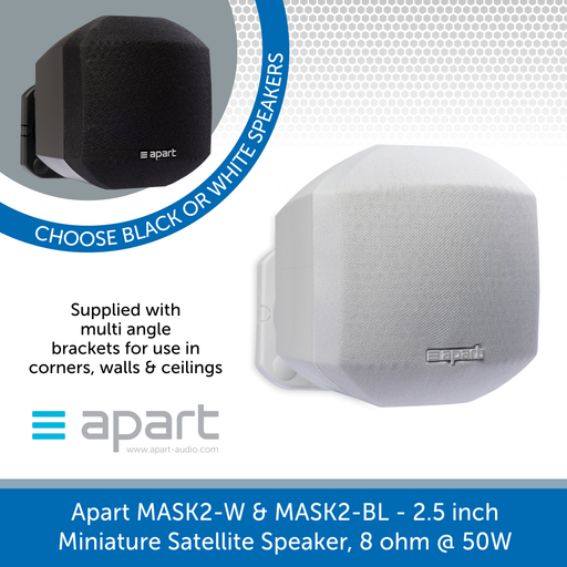 Apart Audio MASK2-W & MASK2-BL 2.5 inch Miniature Satellite Speaker, 8 ohm @ 50W - Black or White