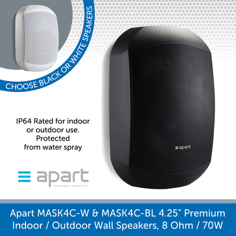Apart Audio MASK4C-W & MASK4C-BL 4.25 inch, Premium Indoor or Outdoor Wall Speakers, 8 Ohm, 70W