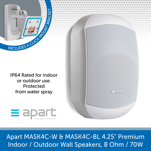 Also available in white, Apart Audio MASK4C-W & MASK4C-BL 4.25 inch, Premium Indoor or Outdoor Wall Speakers, 8 Ohm, 70W