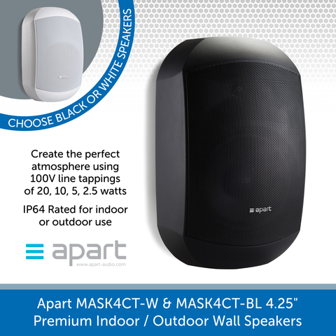 "Apart Audio MASK4CT-W & MASK4CT-BL 4.25"" Premium Indoor / Outdoor Wall Speakers, 100V Line / 16 Ohm"