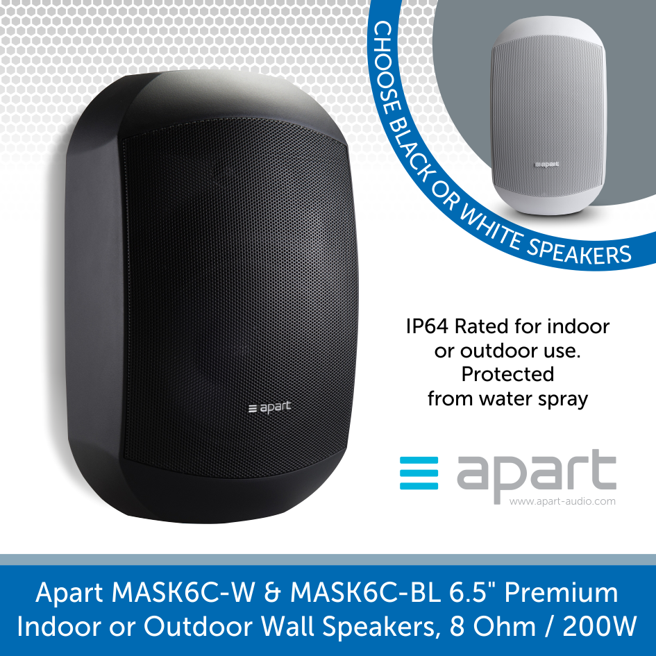 "Apart Audio MASK6C-W & MASK6C-BL 6.5"" Premium Indoor or Outdoor Wall Speakers, 8 Ohm / 200W"