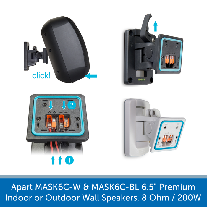 A bracket for a  Apart MASK6C-W & MASK6C-BL Key Features Perfect for background music up to dance music High-quality and long-lasting performance IP64 Rated for indoor and outdoor use Supplied with ClickMount bracket for a quick and easy install Delivers 200W of powerful audio @ 8 Ohms 3-Step overload protection