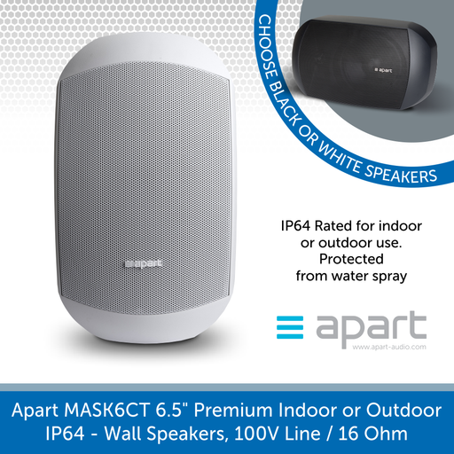 "Apart Audio MASK6CT-W & MASK6CT-BL 6.5"" Premium Indoor or Outdoor IP64 Wall Speakers, 100V Line / 16 Ohm"