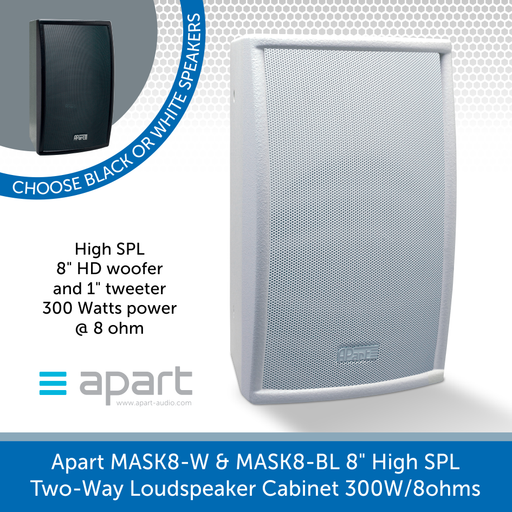 "Apart Audio MASK8-W & MASK8-BL 8"" High SPL Two-Way Loudspeaker Cabinet 300W/8ohms"