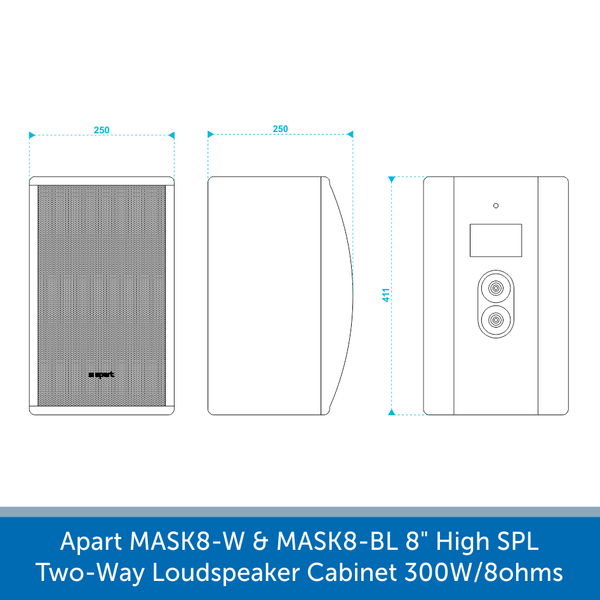"Size's for a Apart Audio MASK8-W & MASK8-BL 8"" High SPL Two-Way Loudspeaker Cabinet 300W/8ohms"