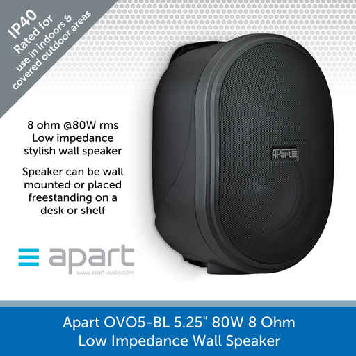 "Apart Audio OVO5-BL 5.25"" 80W 8 Ohm Low Impedance Wall Speaker - Black"