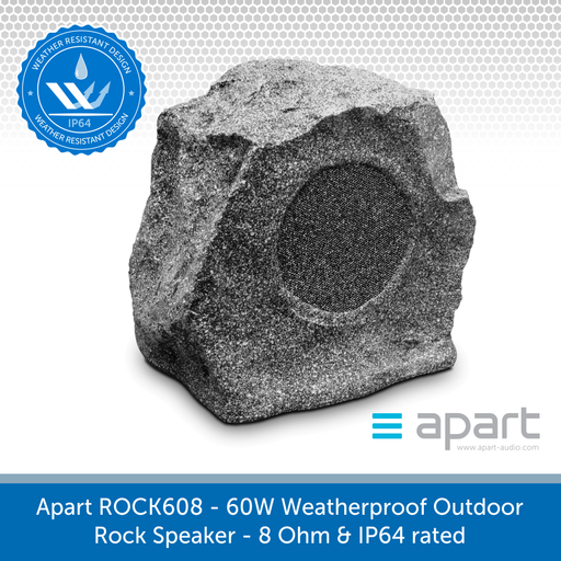 Apart ROCK608 60W Weatherproof Outdoor Rock Speaker, 8 Ohm & IP64 rated