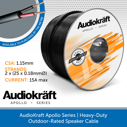 AudioKraft Apollo Series | High-Performance Outdoor Speaker Cable (Custom Length)