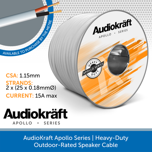 AudioKraft Apollo Series | High-Performance Outdoor Speaker Cable (Custom Length) White
