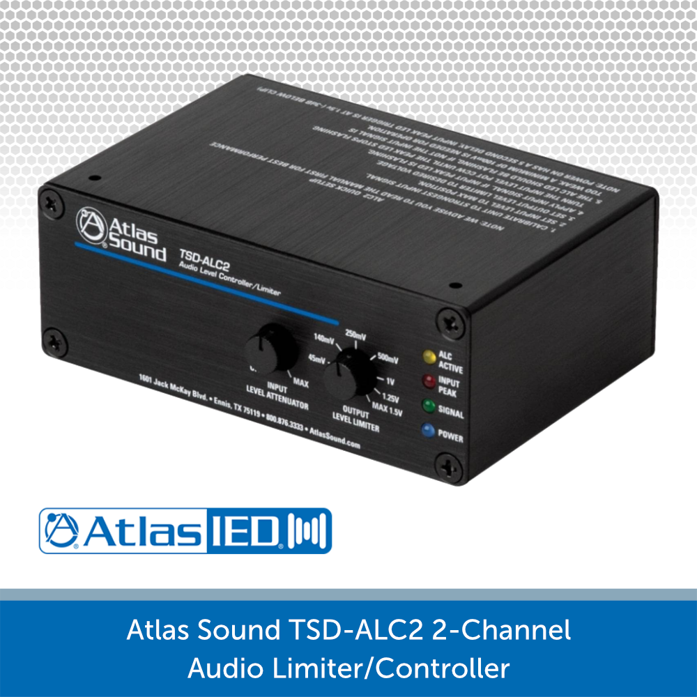 ATLAS SOUND TSD-ALC2 2-CHANNEL AUDIO LEVEL CONTROLLER/LIMITER