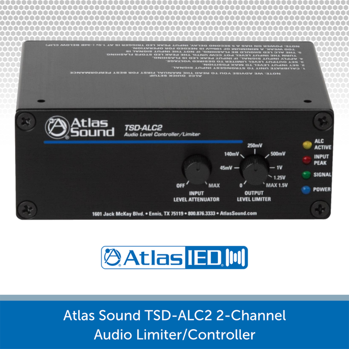 ATLAS SOUND TSD-ALC2 2-CHANNEL AUDIO LEVEL CONTROLLER/LIMITER FRONT PANEL