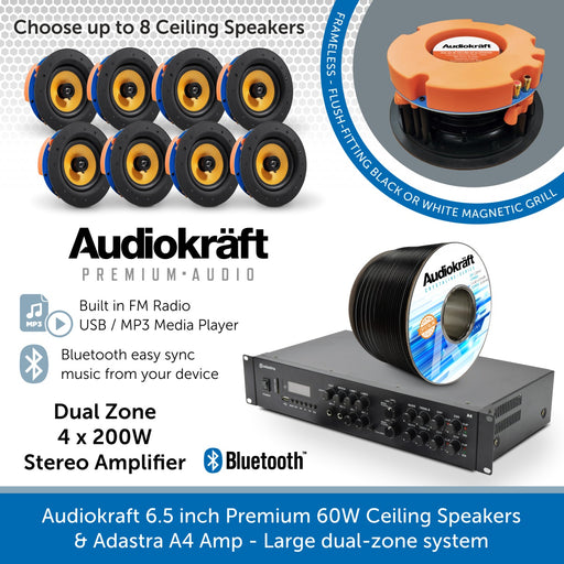 Audiokraft 6.5 inch Premium 60W Ceiling Speakers & Adastra A4 Amp - Dual-zone system
