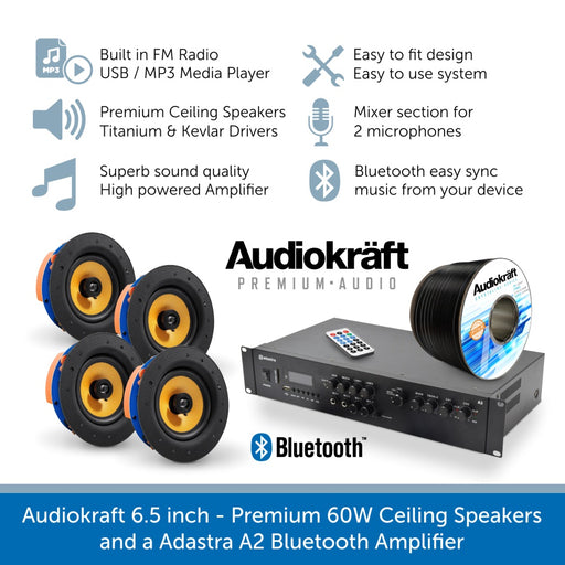 Audiokraft 6.5 inch Premium 60W Ceiling Speakers & Adastra A2 Bluetooth Amplifier