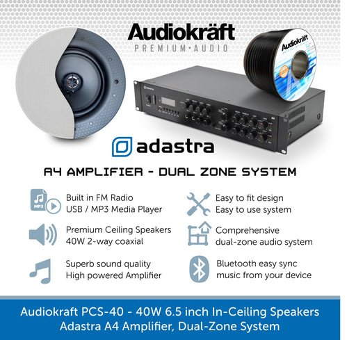 Audiokraft PCS-40 - 40W In-Ceiling Speakers & Adastra A4 Amplifier, Dual-Zone System