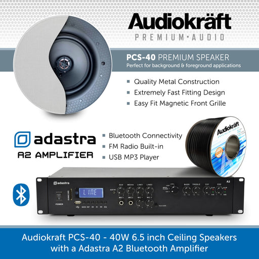 Audiokraft PCS-40 - 40W 6.5 inch In-Ceiling Speakers & Adastra A2 Bluetooth Amplifier