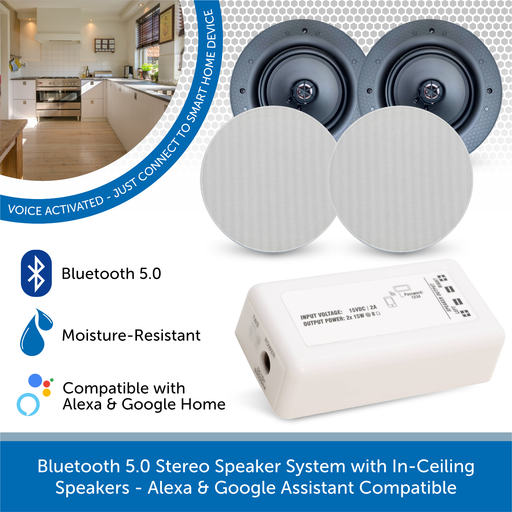 AudioVolt Bluetooth 5.0 Stereo Speaker System with In-Ceiling Speakers - Alexa & Google Assistant Compatible