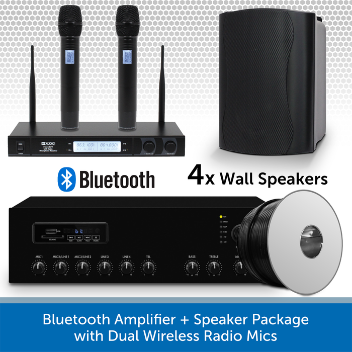Bluetooth Amplifier + 4 Black Speaker Package with Dual Wireless Radio Mics