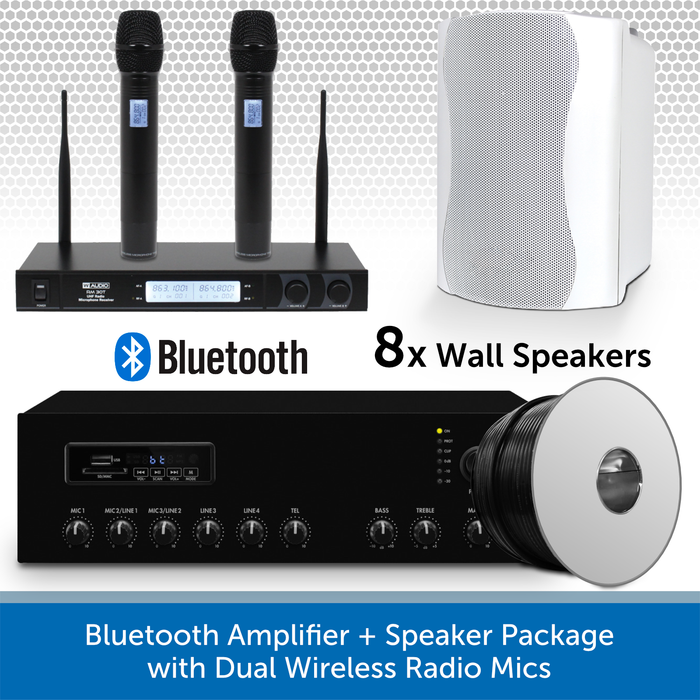 Bluetooth Amplifier + 8 White Speaker Package with Dual Wireless Radio Mics