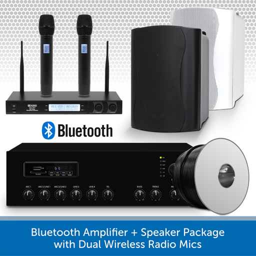 Bluetooth Amplifier + Speaker Package with Dual Wireless Radio Mics