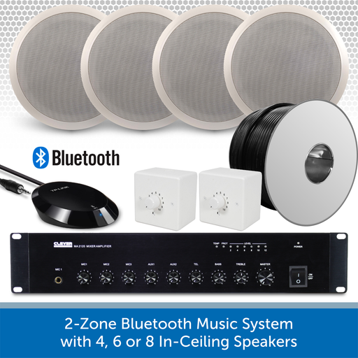 "2-Zone Bluetooth & FM Music System with 4x 6"" In-Ceiling Speakers"