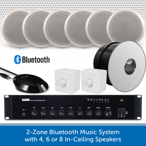 "2-Zone Bluetooth & FM Music System with 6 6"" In-Ceiling Speakers"