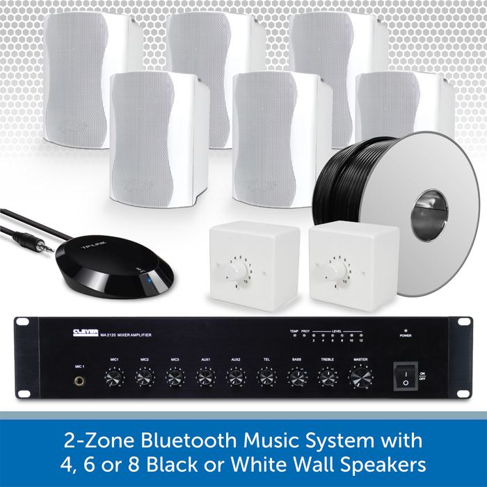 2-Zone Bluetooth & FM Music System with 4, 6 or 8 Black or White Wall Speakers