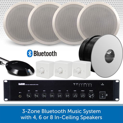 "3-Zone Bluetooth & FM Music System with 4 6"" In-Ceiling Speakers"