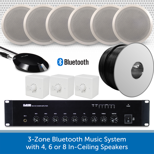 "3-Zone Bluetooth & FM Music System with 6 6"" In-Ceiling Speakers"