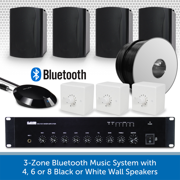 3-Zone Bluetooth & FM Music System with 4 Black Wall Speakers