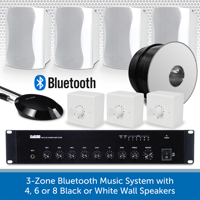 3-Zone Bluetooth & FM Music System with 4 White Wall Speakers