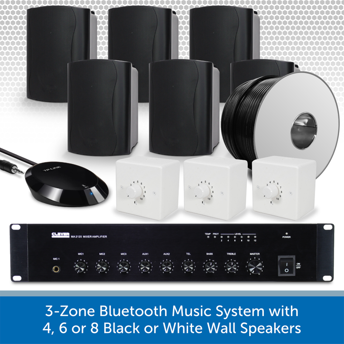 3-Zone Bluetooth & FM Music System with 6 Black Wall Speakers