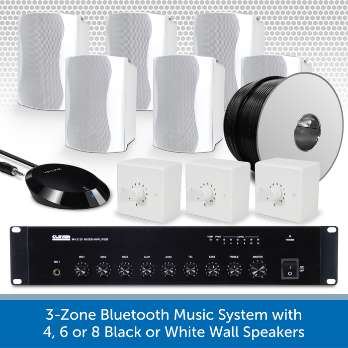 3-Zone Bluetooth & FM Music System with 6 White Wall Speakers