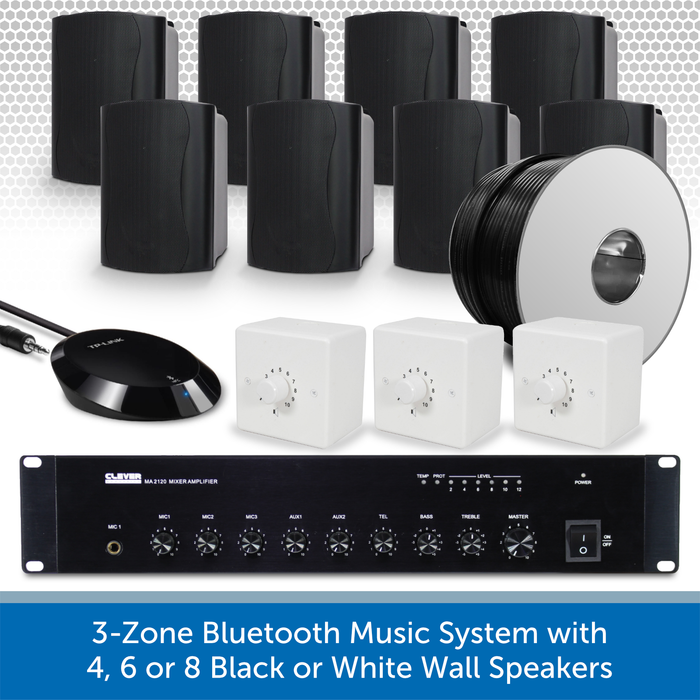 3-Zone Bluetooth & FM Music System with 8 Black Wall Speakers