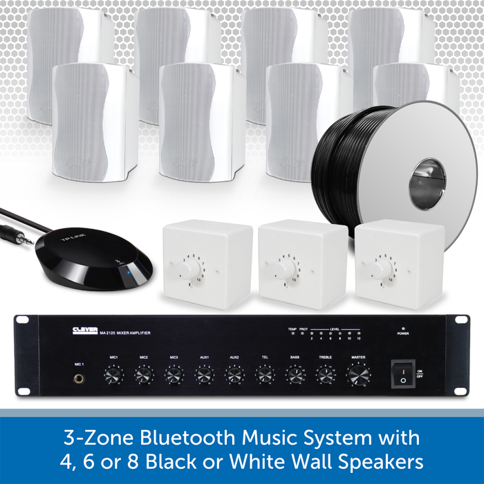 3-Zone Bluetooth & FM Music System with 8 White Wall Speakers