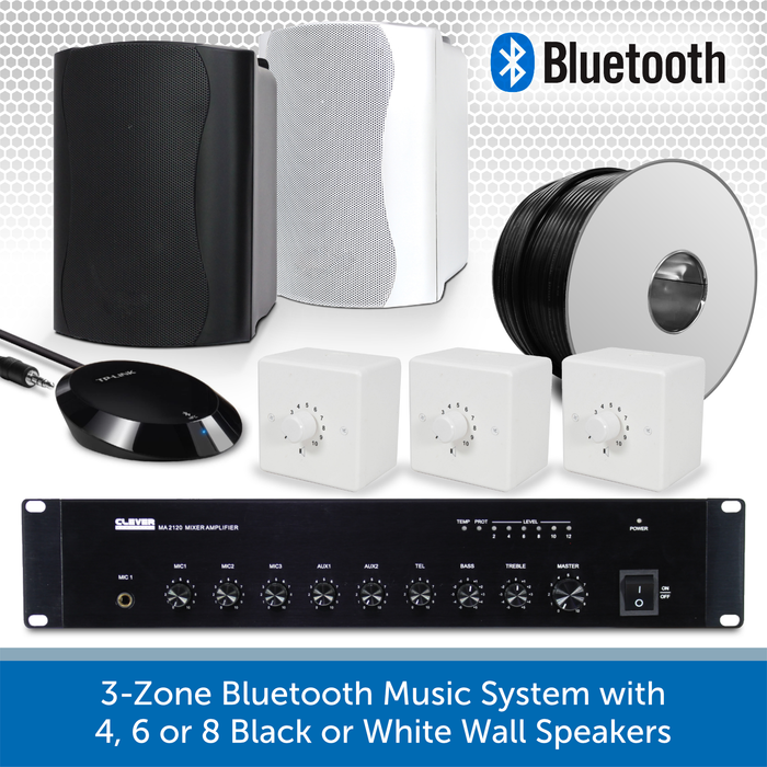 3-Zone Bluetooth & FM Music System with 4, 6 or 8 Black or White Wall Speakers