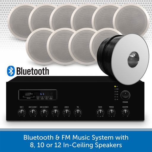 "Bluetooth & FM Music System with 10 6"" In-Ceiling Speakers"
