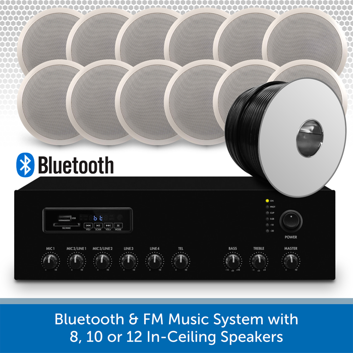"Bluetooth & FM Music System with 12 6"" In-Ceiling Speakers"