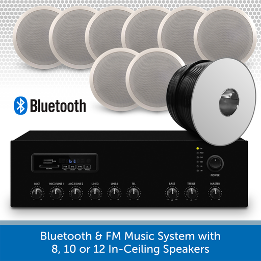 "Bluetooth & FM Music System with 8 6"" In-Ceiling Speakers"